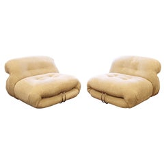 Mid-Century Modern Tobia Scarpa Cassina Soriana Pair Boucle Lounge Chairs 1970s