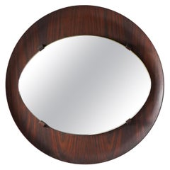 Campo & Graffi 'Attributed', Wall Mirror, Rosewood, Mirror Glass, Italy, 1950s