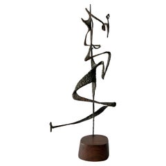 1963 G. Aron Abstract American Modernist Iron Sculpture on Wood Base