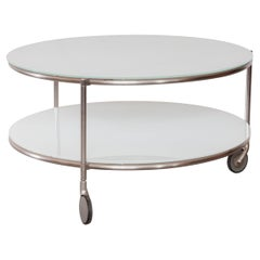 Modern Zanotta Round Coffee Table with Castor-Mounted Wheels
