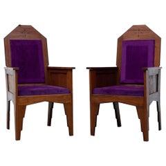 Pair of 1920's Amsterdam School Teak Arm Chairs
