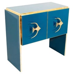 Modern Italian Custom Brass Edged & Fish Marine Teal Blue Cabinet