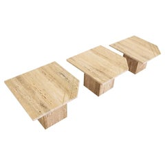 Italian Contemporary Modern Travertine Nesting Tables Set with Brass Insets