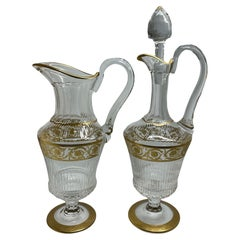 Elegant Saint Louis Crystal Gold Thistle Pattern Set of a Jug and Decanter
