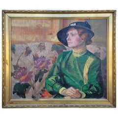 Ted Schuyler 40's Female Figure Oil Painting