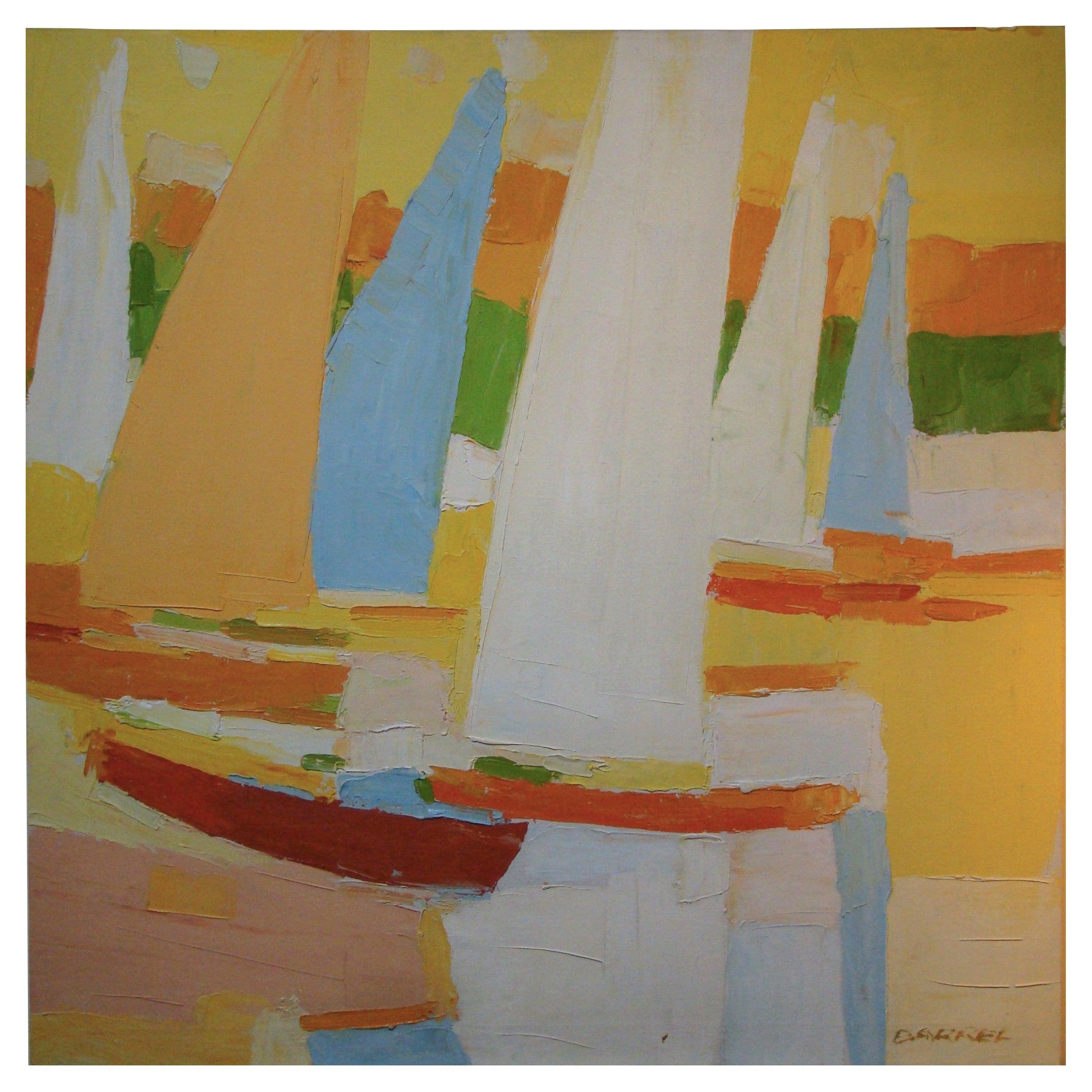 "Large Abstract Oil on Canvas by Italo Botti ""Regatta"" signed Barrel"