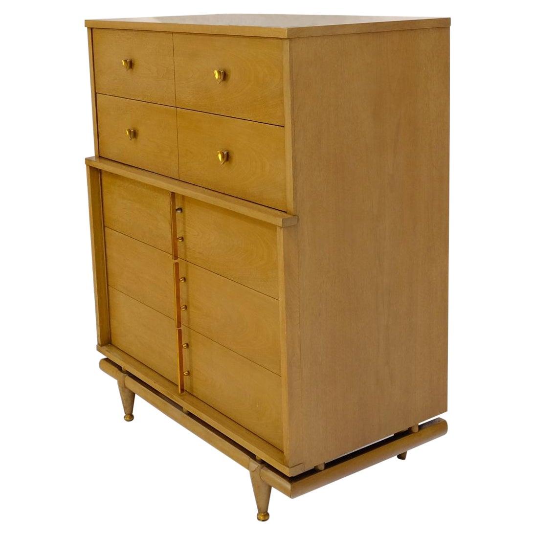 Mid-Century Modern Floating Base 5 Drawers High Chest Dresser