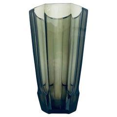 Art Deco Geometric Smoked Grey Glass Vase by Moser, Czech Republic, c. 1930's