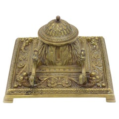 French Victorian Bronze Inkwell