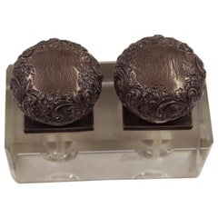French Victorian Embossed Sterling Silver and Glass Inkwell