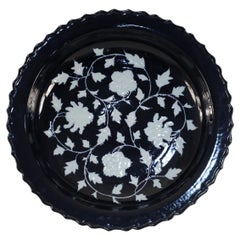 Chinese Dark Blue and White Peony Flower Design Scalloped Porcelain Centerpiece