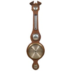 Antique Federal Mahogany Banjo Style Barometer Thermometer Bullseye Mirror