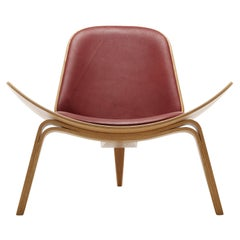 CH07 Shell Chair in Oiled Oak with Thor 332 Leather Seatby Hans J. Wegner