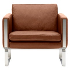 CH101 Chair in Stainless Steel Frame with Leather Seat by Hans J. Wegner