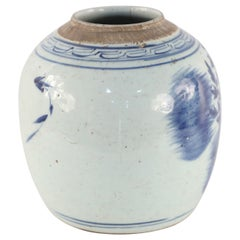 Chinese Cream and Blue Floral Ginger Jar