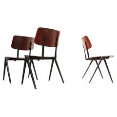 Dutch Industrial Design Prouve Style School Chairs S21 Compas Galvanitas