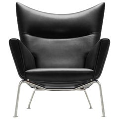 CH445 Wing Chair in Thor 301 Leather with Stainless Steel Base by Hans J. Wegner