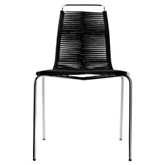 PK1 Dining Chair in Chrome Base with Black Flag Halyard Seat by Poul Kjærholm