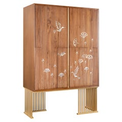 Walnut Wood China Cabinet Hand-Inlayed with Brass and Mother-of-Pearl Artwork