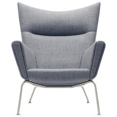 CH445 Wing Chair in Fiord 151 Fabric with Stainless Steel Base by Hans J. Wegner