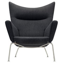 CH445 Wing Chair in Fiord 191 Fabric with Stainless Steel Base by Hans J. Wegner