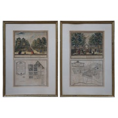 2 Antique Colored Engravings German French Waterlant Beverwyk Landscapes Framed