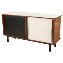 Charlotte Perriand French 1950s Mahogany and Black and White Veneer Sideboard