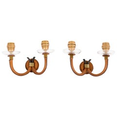 1950's Pair of Stitched Leather Sconces by Jacques Adnet