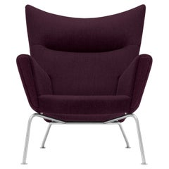 CH445 Wing Chair in Fiord 591 Fabric with Stainless Steel Base by Hans J. Wegner