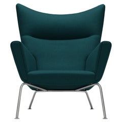 CH445 Wing Chair in ForestNap 992 Fabric & Stainless Steel Base, Hans J. Wegner