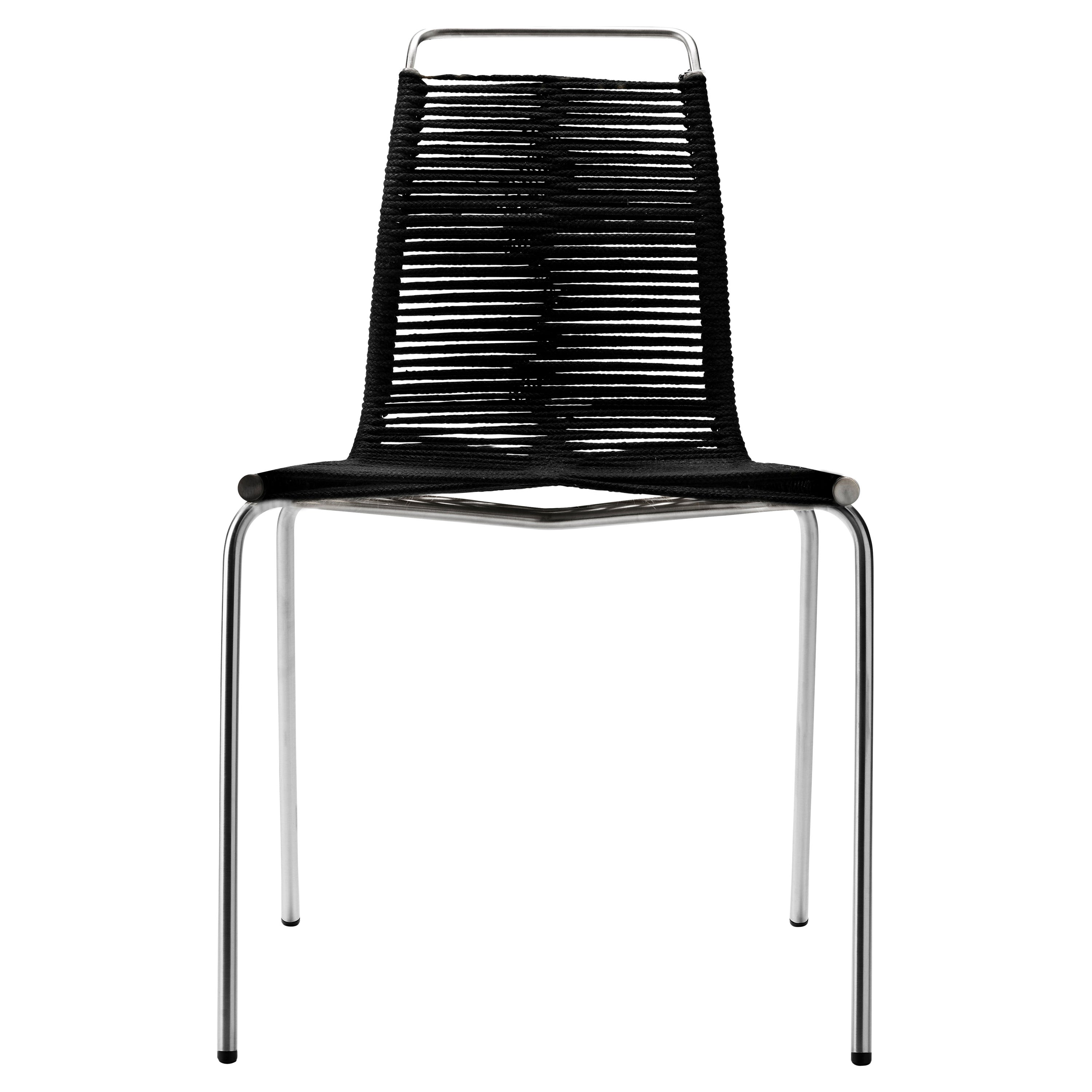 PK1 Dining Chair in Stainless Steel Base & Black Flag Halyard by Poul Kjærholm