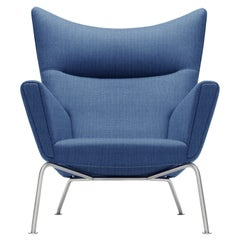 CH445 Wing Chair in Canvas 746 Fabric & Stainless Steel Base by Hans J. Wegner