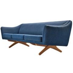 Illum Wikkelsø Three-Seat Sofa in Blue Upholstery