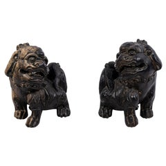 Chinese Ebonized Pottery Foo Dogs