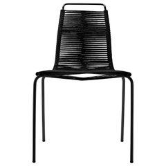 PK1 Dining Chair in Black Steel Base & Black Flag Halyard Seat by Poul Kjærholm