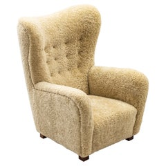 """""""1672"""" Wingback Chair by Fritz Hansen, with Sheep Skin, Denmark, 1930s"""