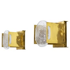 """Brass and Glass Wall Lamps Model """"F 13"""" by Hans Agne Jakobsson, 1950s"""