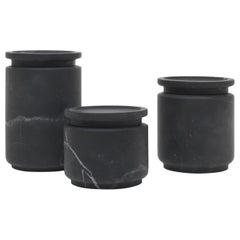 A Set of 3 Pyxis Pots, Black by Ivan Colominas