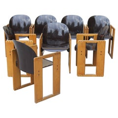 """Set of Eight """"Dialogo"""" Brown Chairs by Tobia Scarpa for B&B, Italy, 70s"""
