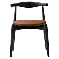CH20 Elbow Chair in Oak Painted Black & Thor 307 Leather Seat by Hans J. Wegner