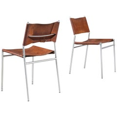 Martin Visser for 't Spectrum Pair of Dining Chairs in Cognac Leather