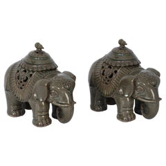 Pair of Chinese Lidded Porcelain Elephant Figurines