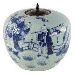 Chinese Celadon and Blue Figurative Lidded Porcelain Ginger Jar