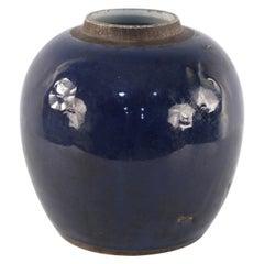Chinese Navy Blue Ginger Jar