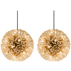 Pair of 'Sputnik' Chandeliers in Brass and Glass