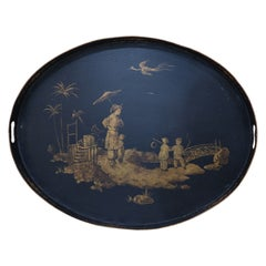 Vintage Chinese Oval Tole Black and Gold Pastoral Scene Tray