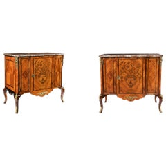 Fine Pair of 19th Century Gilt Bronze Tulipwood Marquetry Marble-Top Commodes