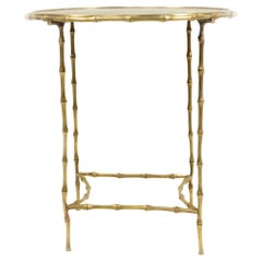 Maison Bagues French Mid-Century Brass Faux Bamboo End Table