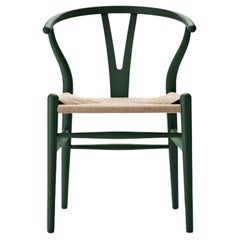CH24 Wishbone Chair in Soft Green with Natural Papercord by Hans J. Wegner