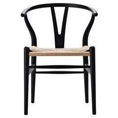 CH24 Wishbone Chair in Soft Black with Natural Papercord by Hans J. Wegner
